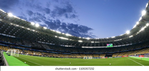 KYIV, UKRAINE - MAY 26, 2018: Panoramic view of NSC Olimpiyskiy Stadium in Kyiv during Real Madrid training session before UEFA Champions League Final 2018 game against Liverpool