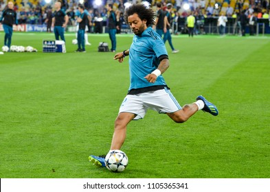KYIV, UKRAINE - MAY 26, 2018: Marcelo and Footballer before the 2018 UEFA Champions League final match between Real Madrid and Liverpool in Kyiv at NSC olimpiyskiy stadium, Ukraine