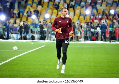 KYIV, UKRAINE - MAY 26, 2018: Simon Mignolet before the 2018 UEFA Champions League final match between Real Madrid and Liverpool in Kyiv at NSC olimpiyskiy stadium, Ukraine