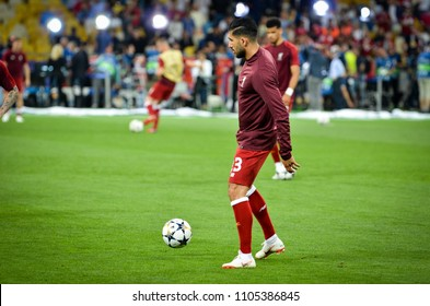 KYIV, UKRAINE - MAY 26, 2018:  Emre Can and Training of football players of Liverpool before the 2018 UEFA Champions League final match between Real Madrid and Liverpool, Ukraine