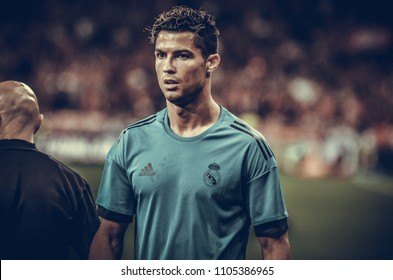 KYIV, UKRAINE - MAY 26, 2018: Cristiano Ronaldo and Training of football players of Real Madrid before the 2018 UEFA Champions League final match between Real Madrid and Liverpool, Ukraine