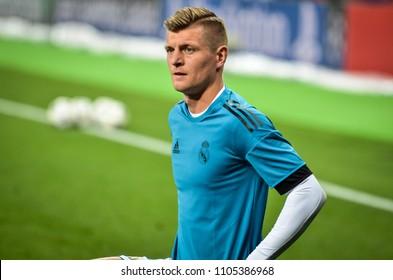 KYIV, UKRAINE - MAY 26, 2018: Toni Kroos before the 2018 UEFA Champions League final match between Real Madrid and Liverpool in Kyiv at NSC olimpiyskiy stadium, Ukraine