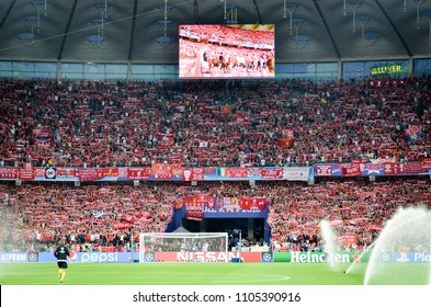 KYIV, UKRAINE - MAY 26, 2018: Liverpool fans at the stadium support their team before the 2018 UEFA Champions League final match between Real Madrid and Liverpool, Ukraine