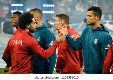 KYIV, UKRAINE - MAY 26, 2018: Mohamed Salah and Cristiano Ronaldo shake hands before the 2018 UEFA Champions League final match between Real Madrid and Liverpool, Ukraine