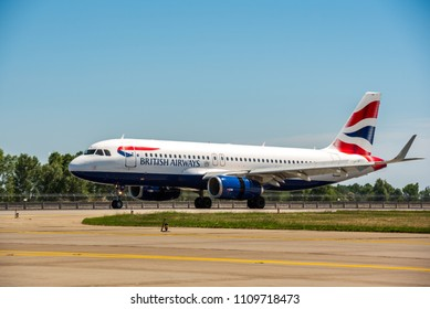 KYIV, UKRAINE - MAY 26, 2018: Photo of a British airlines plane, which is charter and regular carrier. British Airways is one of the leading flying companies