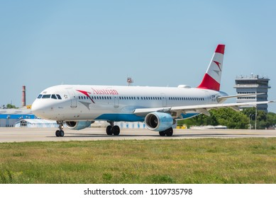 KYIV, UKRAINE - MAY 26, 2018: Photo of a Austrian Airlines plane, which is charter and regular airline. Is the national airline company of the Austria