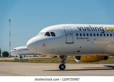 KYIV, UKRAINE - MAY 26, 2018: Photo of a Vueling Airlines plane, which is charter and regular airline. Spanish low-cost airline based at El Prat de Llobregat in Greater Barcelona and Roma