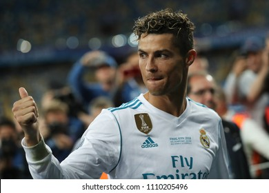 KYIV, UKRAINE - MAY 26, 2018: Cristiano Ronaldo close-up portrait. Shows thumbs up signal, happy, optimistic look. Celebrating Champions League trophy victory in Final win Real Madrid-Liverpool.