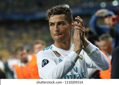 KYIV, UKRAINE - MAY 26, 2018: Cristiano Ronaldo close-up portrait. Clap hands, happy, optimistic look. Celebrating The UEFA Champions League trophy victory in Final win of Real Madrid over Liverpool.