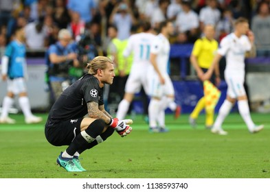KYIV, UKRAINE - MAY 26, 2018: Goalkeeper Loris Karius of Liverpool reacts after missed a goal during the UEFA Champions League Final 2018 game against Real Madrid in Kyiv. Karius missed thrice