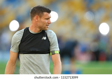 KYIV, UKRAINE - MAY 26, 2018: James Milner close-up portrait. Optimistic look, good mood. UEFA Champions League final Liverpool pre-match training. Olympic NSC stadium.