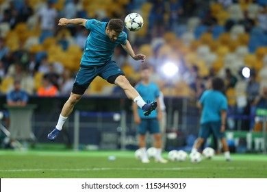 KYIV, UKRAINE - MAY 26, 2018: Jose Ignacio Fernandez Iglesias commonly known as Nacho shoots powerful, spectacular header. UEFA Champions League final Real Madrid pre-match training. Olympic stadium.
