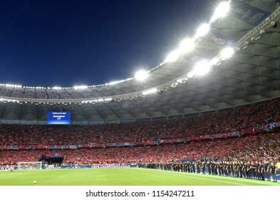 KYIV, UKRAINE - MAY 26, 2018: Panoramic view of tribunes NSC Olimpiyskiy Stadium in Kyiv crowded with Liverpool supporters during the UEFA Champions League Final 2018 game Real Madrid v Liverpool