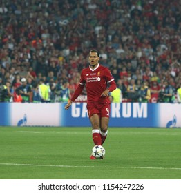 KYIV, UKRAINE - MAY 26, 2018: Virgil Van Dijk of Liverpool controls a ball during the UEFA Champions League Final 2018 game against Real Madrid in Kyiv