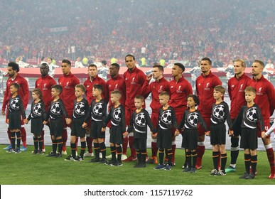 KYIV, UKRAINE - MAY 26, 2018: Liverpool players listen to Champions League Anthem before the UEFA Champions League Final 2018 game against Real Madrid at NSC Olimpiyskiy Stadium in Kyiv, Ukraine