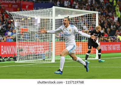 KYIV, UKRAINE - MAY 26, 2018: Gareth Bale of Real Madrid celebrates after scored a goal during the UEFA Champions League Final 2018 game against Liverpool at NSC Olimpiyskiy Stadium in Kyiv