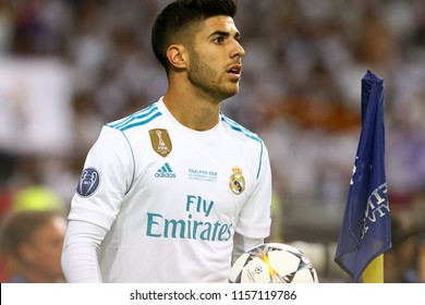 KYIV, UKRAINE - MAY 26, 2018: Portrait of Real Madrid player Marco Asensio during the UEFA Champions League Final 2018 game against Liverpool at NSC Olimpiyskiy Stadium in Kyiv