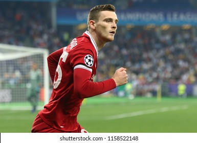 KYIV, UKRAINE - MAY 26, 2018: Portrait of Liverpool player Andy Robertson during the UEFA Champions League Final 2018 game against Real Madrid at NSC Olimpiyskiy Stadium in Kyiv