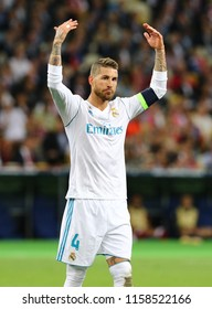 KYIV, UKRAINE - MAY 26, 2018: Portrait of Real Madrid player Sergio Ramos during the UEFA Champions League Final 2018 game against Liverpool at NSC Olimpiyskiy Stadium in Kyiv. Real Madrid won 3-1