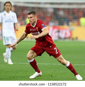 KYIV, UKRAINE - MAY 26, 2018: Portrait of Liverpool player James Milner during the UEFA Champions League Final 2018 game against Real Madrid at NSC Olimpiyskiy Stadium in Kyiv. Liverpool lost 1-3