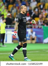 KYIV, UKRAINE - MAY 26, 2018: Portrait of Liverpool goalkeeper Loris Karius during the UEFA Champions League Final 2018 game against Real Madrid at NSC Olimpiyskiy Stadium. Karius missed 3 goals