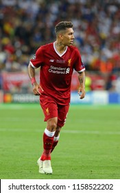 KYIV, UKRAINE - MAY 26, 2018: Portrait of Liverpool player Roberto Firmino during the UEFA Champions League Final 2018 game against Real Madrid at NSC Olimpiyskiy Stadium in Kyiv. Liverpool lost 1-3