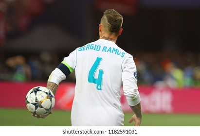 KYIV, UKRAINE - MAY 26, 2018: Sergio Ramos of Real Madrid in action during the UEFA Champions League Final 2018 game against Liverpool at NSC Olimpiyskiy Stadium. Real Madrid won 3-1