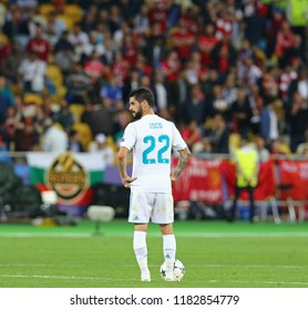 KYIV, UKRAINE - MAY 26, 2018: Isco of Real Madrid kicks-off the ball during the UEFA Champions League Final 2018 game against Liverpool at NSC Olimpiyskiy in Kyiv. Real Madrid won 3-1