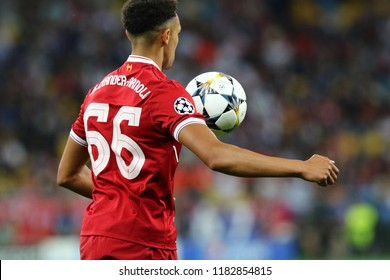 KYIV, UKRAINE - MAY 26, 2018: Trent Alexander-Arnold of Liverpool in action during the UEFA Champions League Final 2018 game against Real Madrid at NSC Olimpiyskiy Stadium in Kyiv. Liverpool lost 1-3