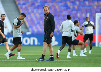 KYIV, UKRAINE - MAY 26, 2018: FC Liverpool head coach beautiful portrait. Jurgen Norbert Klopp is German professional football coach and former player who is manager of Premier League club Liverpool