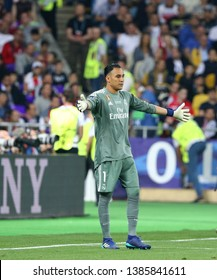 KYIV, UKRAINE - MAY 26, 2018: Goalkeeper Keylor Navas of Real Madrid in action during the UEFA Champions League Final 2018 game against Liverpool at NSC Olimpiyskiy Stadium. Real Madrid won 3-1