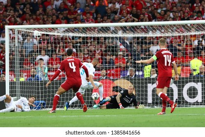 KYIV, UKRAINE - MAY 26, 2018: Goalkeeper Loris Karius of Liverpool defends his goal during the UEFA Champions League Final 2018 game Real Madrid v Liverpool in Kyiv. Karius missed thrice