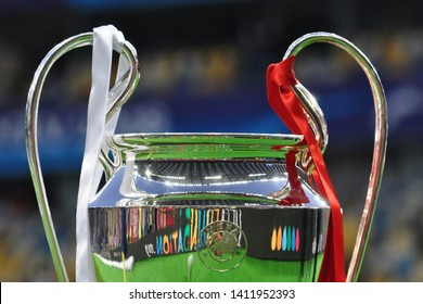KYIV, UKRAINE – MAY 26, 2018: Champions League trophy on the border of the field before the match. UEFA Champions League final between Real Madrid and Liverpool. NSC Olympic stadium in Kyiv.