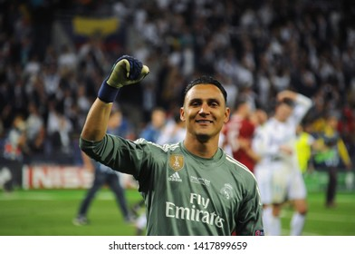 KYIV, UKRAINE – MAY 26, 2018: smiling Real Madrid player Keylor Navas after the UEFA Champions League final between Real Madrid and Liverpool. NSC Olympic stadium in Kyiv.