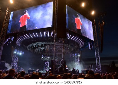 KYIV, UKRAINE - MAY 26, 2019: Svyatoslav Vakarchuk, the leader of Okean Elzy's group during a performance at the 360th concert at VDNH