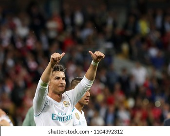 KYIV, UKRAINE - MAY 26: Cristiano Ronaldo celebrates the w of his team during the UEFA Champions League final match between Real Madrid vs Liverpool FC , at Olimpiyskiy stadium in Kiev, on 26 May 2018