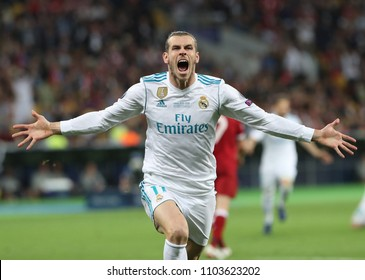 KYIV, UKRAINE - MAY 26: Gareth Bale in action during the UEFA Champions League final match between Real Madrid vs Liverpool FC , at the NSC Olimpiyskiy stadium in Kiev, on 26 May 2018.