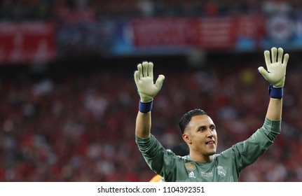KYIV, UKRAINE - MAY 26: Keylor Navas of Real Madrid celebrates the victory during the UEFA Champions League final match between Real Madrid vs Liverpool FC , in Kiev, on 26 May 2018.