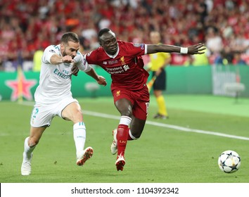 KYIV, UKRAINE - MAY 26: Sadio Mane (R) of Liverpool in action against Dani Carvajal (L) during the UEFA Champions League final match between Real Madrid vs Liverpool FC in Kiev, on 26 May 2018