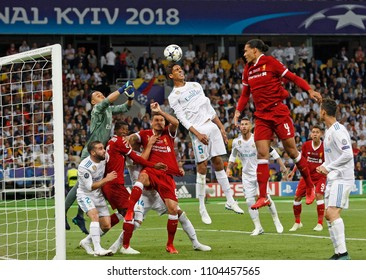 KYIV, UKRAINE - MAY 26: Virgil Van Dijk (3-R) of Liverpool in action against Keylor Navas (C) and Keylor Navas (L) of Real Madrid during the UEFA Champions League final match in Kiev 26 May 2018