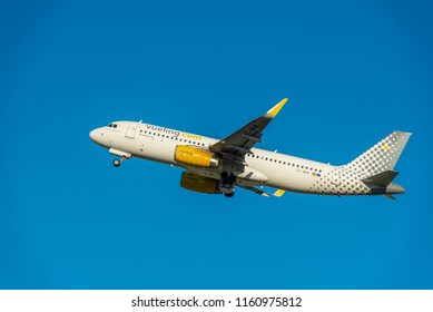 KYIV, UKRAINE - MAY 27, 2018: Photo of a Vueling Airlines plane, which is charter and regular airline. Spanish low-cost airline based at El Prat de Llobregat in Greater Barcelona and Roma