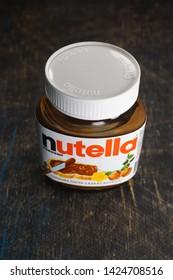 Kyiv, Ukraine - May 27, 2019: Nutella introduced to the market in 1964 by Italian company Ferrero. Nutella hazelnut