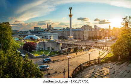 Kyiv / Ukraine - May 27 2020: Independence Square in the centre of Kyiv city at sunset.