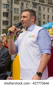 Kyiv. Ukraine. May 28, 2016.The Day Of Kyiv.  The Mayor Of Kyiv Vitaly Klitschko welcomes the participants of the Cycling mileage.