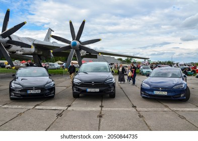 KYIV, UKRAINE MAY 29, 2021: Luxury Electric cars zero emissions Tesla parked at Natoonal Aviation Museum in Kyiv during the anual automotive exhibition