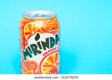KYIV, UKRAINE - MAY 30, 2018: Beverage canister Mirinda orange. Mirinda is a brand of soft drink originally created in Spain in 1959, with global distribution. Editorial. Path included.