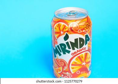 KYIV, UKRAINE - MAY 30, 2018: Beverage canister Mirinda orange. Mirinda is a brand of soft drink originally created in Spain in 1959, with global distribution.