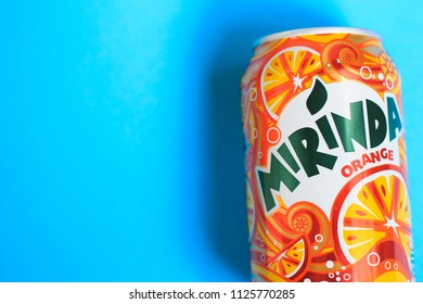 KYIV, UKRAINE - MAY 30, 2018: Beverage canister Mirinda orange. Mirinda is a brand of soft drink originally created in Spain in 1959, with global distribution.
