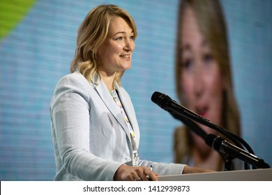 KYIV, UKRAINE - May 31, 2019: People's Deputy Maria Ionova during the congress of the European Solidarity Party