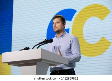 KYIV, UKRAINE - May 31, 2019: War veteran, fighter of the 95th separate airborne assault brigade of airmobile troops Alexander Pogrebisky during the congress of the European Solidarity Party
